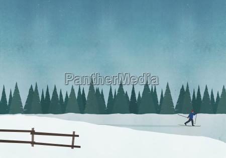illustration of man skiing against blue