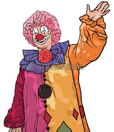 froehliche bunte clown waving