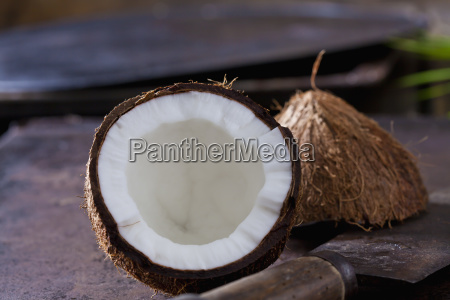 opened coconut close up