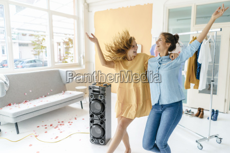 two excited young women having a
