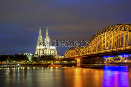 germany cologne illuminated cologne cathedral and