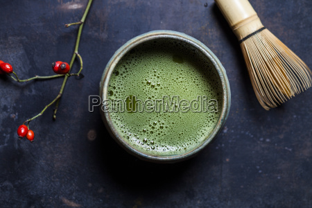 japanese matcha in bowl with matcha