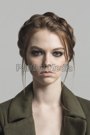 portrait of young woman with hairstyle