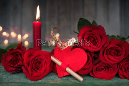 beautiful romantic still life for valentines