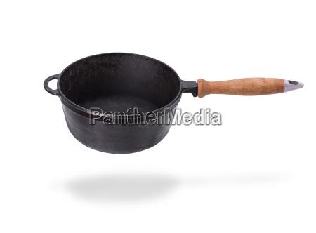 deep old black cast iron frying