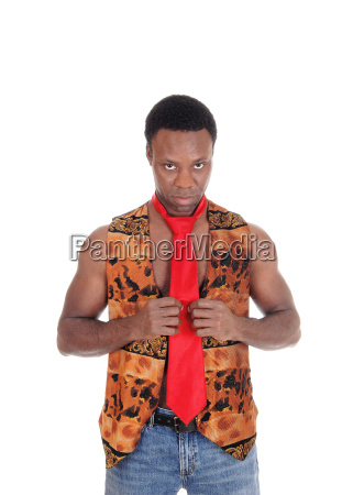 handsome african man in vest and