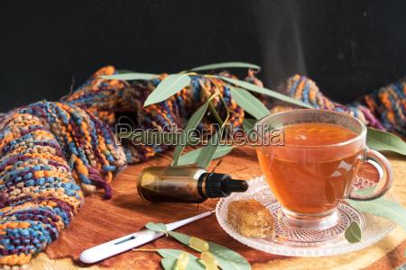 eine tasse eukalyptustee mit blaettern winterschal