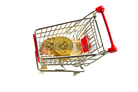 golden bitcoins cryptocurrency and shopping cart