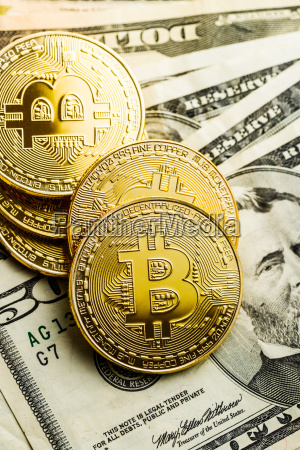 golden bitcoins cryptocurrency and dollars currency