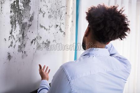 man looking at mold on wall