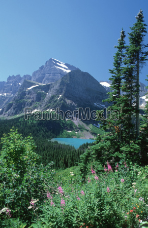 grinell lake in front of mt