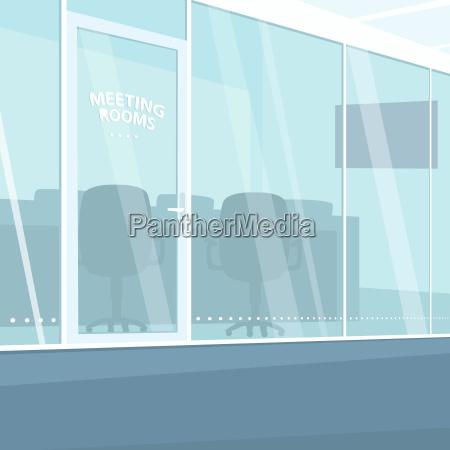 innenraum des buerokorridors mit konferenzzimmern