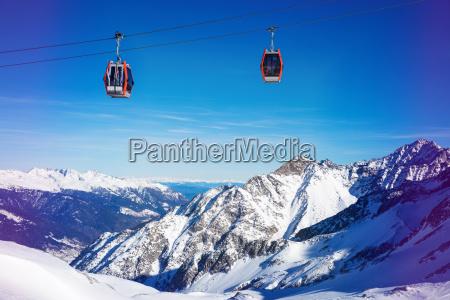 ski resort cable cars over beautiful
