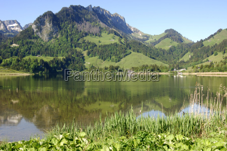 schwarzsee with schopfspitze friborg alps switzerland