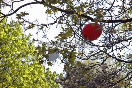 roter luftballon mit postkarte haengt zwischen