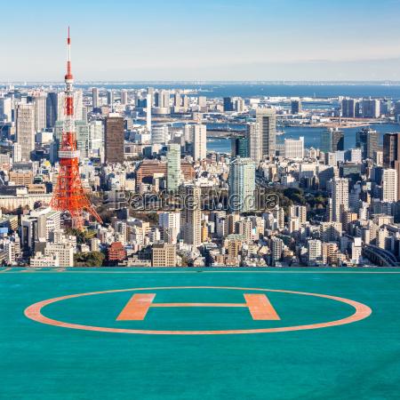 helipad tokyo tower tokyo japan