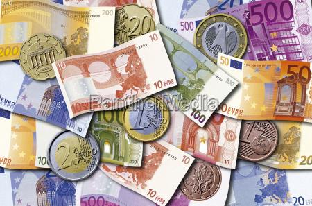 euro geldscheine und munzen
