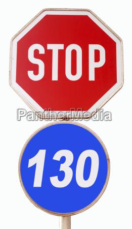 symbolbild stop tempo 130