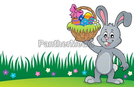 bunny holding easter basket topic 3