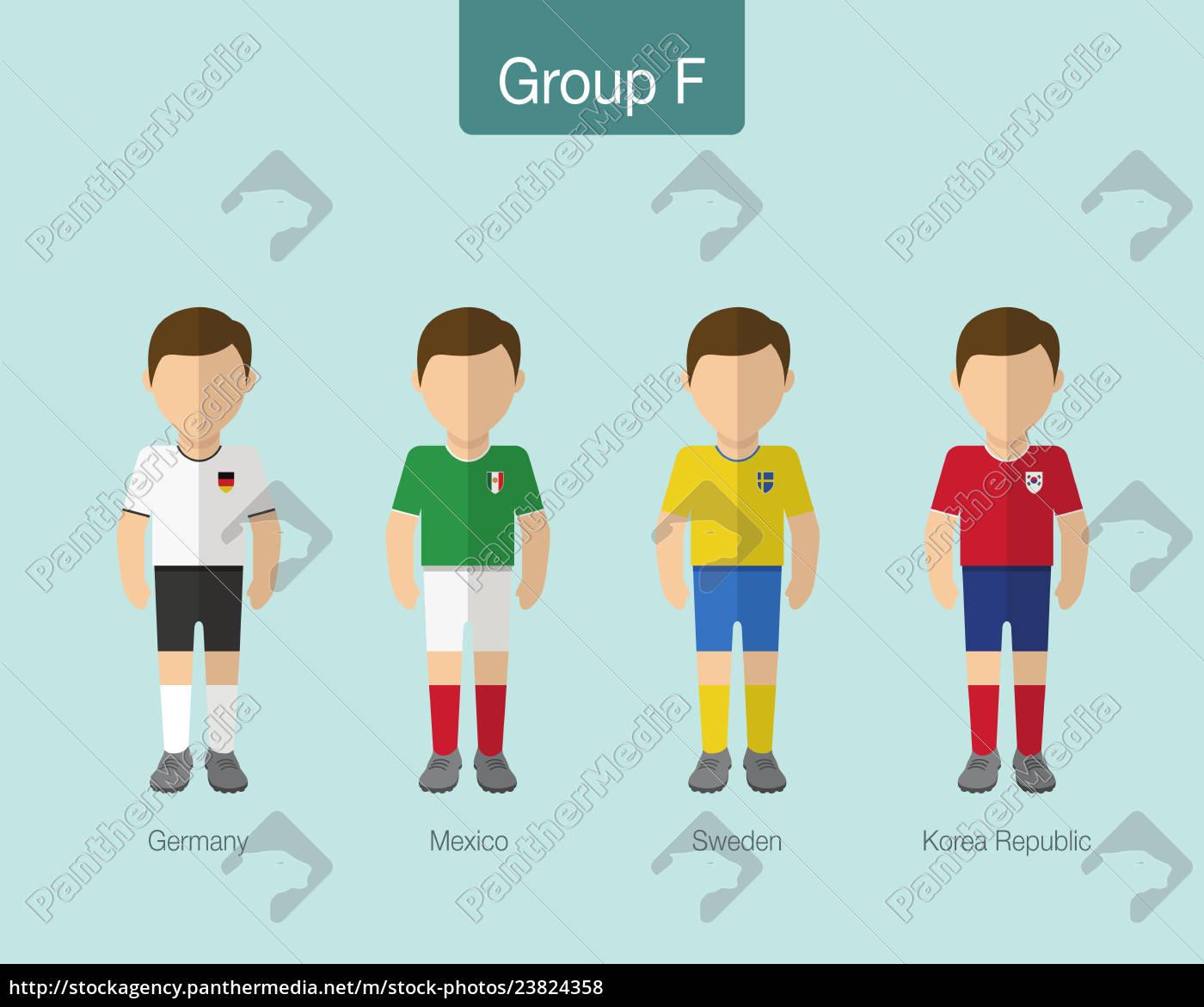 fußball-, oder, fußballteamuniform, 2018., gruppe, f - 23824358