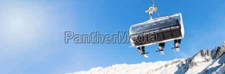 winter vacation skiers in a