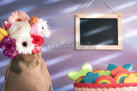colorful cookies and flowers with a