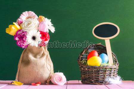 flowers and easter eggs with a