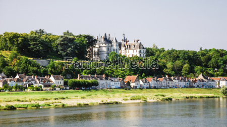 houses and castle in amboise town