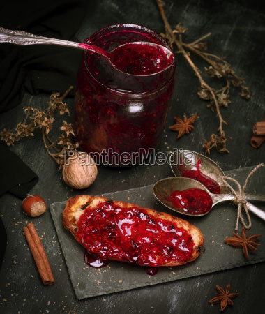 toast with raspberry jam and empty