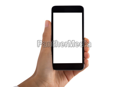 persons hand holding mobile phone with