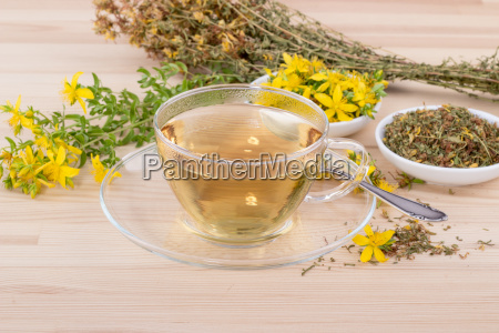 cup of herbal tea with dried