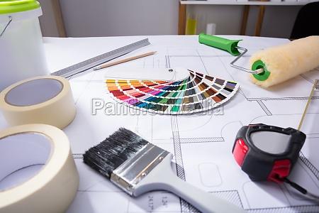 farbanleitung swatch on blueprint