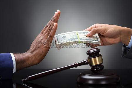 close up of a judges hand