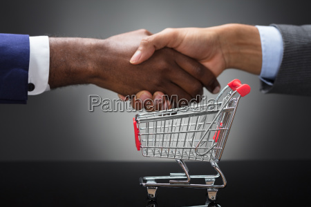 two businessman shaking hands in front