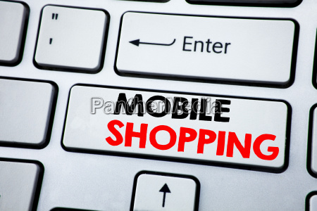 writing text showing mobile shopping business