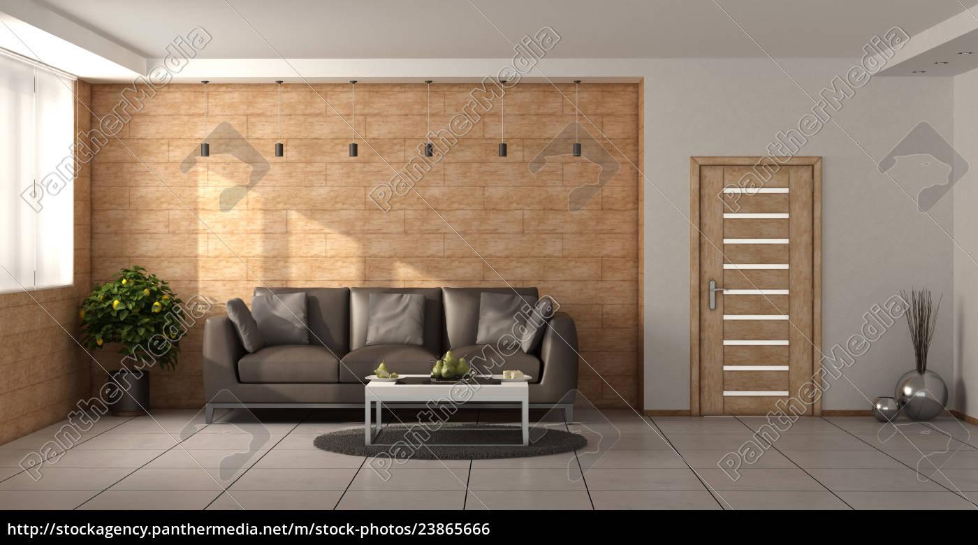 Stockfoto 23865666   Modernes Wohnzimmer Mit Holzwänden