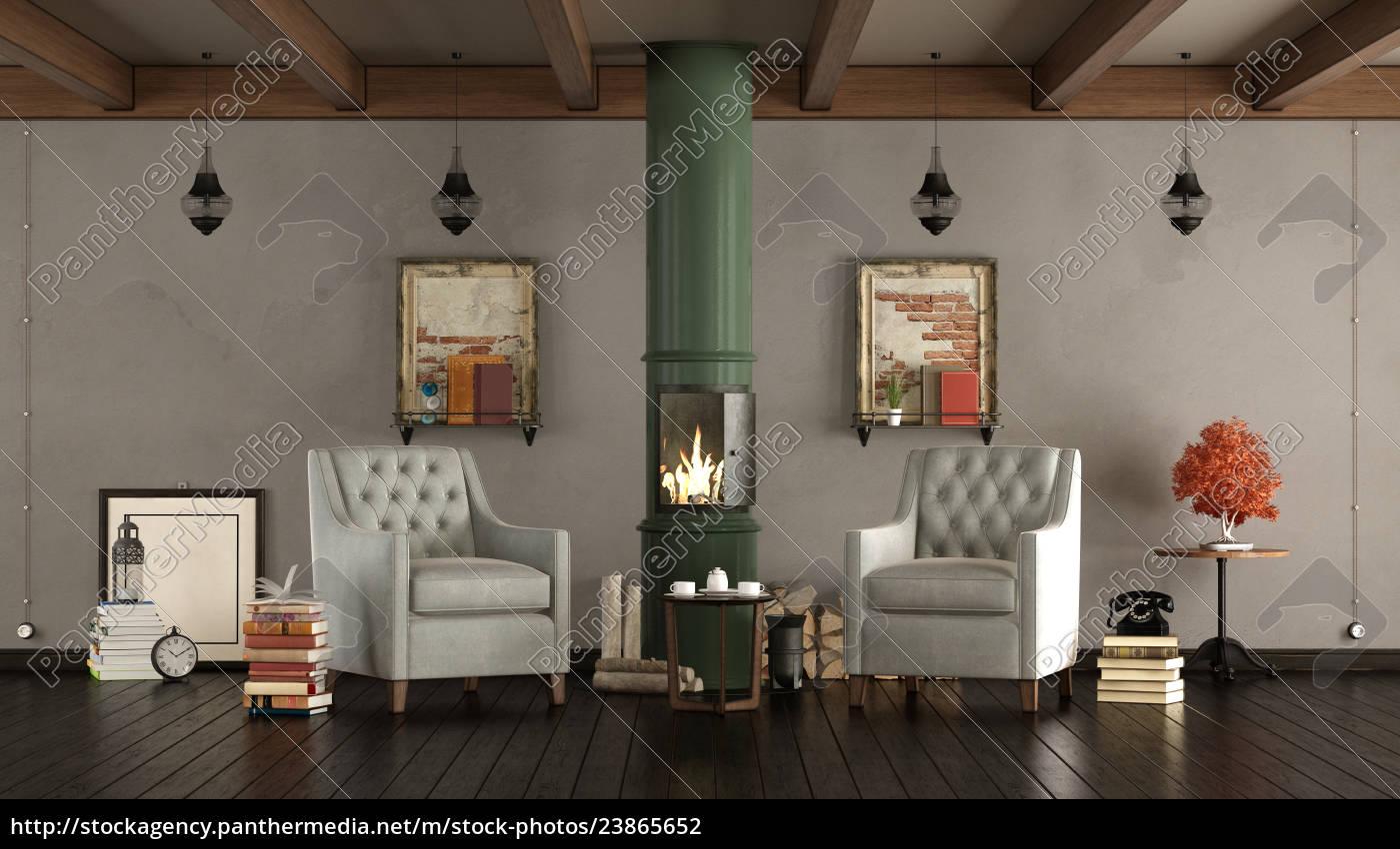 Lizenzfreies Foto 23865652 Vintage Wohnzimmer Mit Holzofen