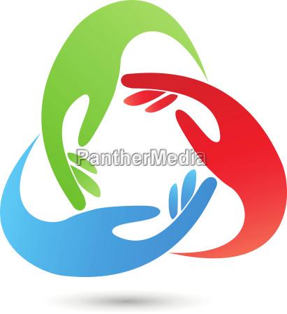 three hands group team logo