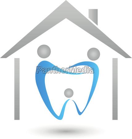 haus und drei personen zahn zahnarzt