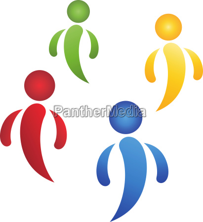 four people team and people logo