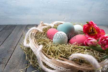 colorful easter eggs decorated in a