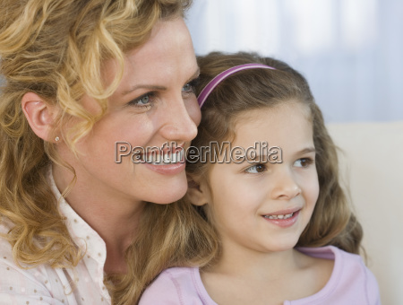 close up of mother and daughter