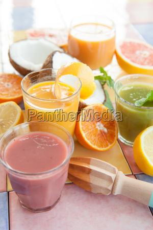 various fresh smoothies