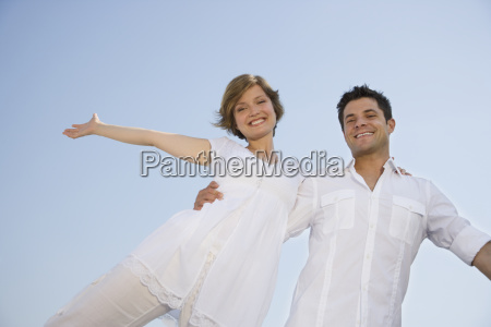low angle view of couple with