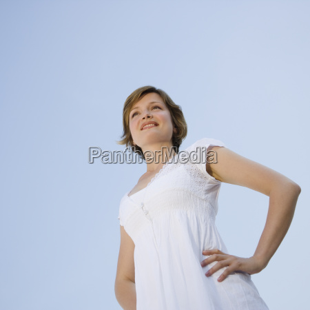 low angle view of woman with