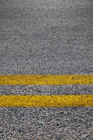 close up of double yellow line