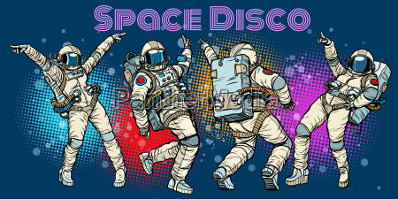 disco party astronauten tanzen maenner und