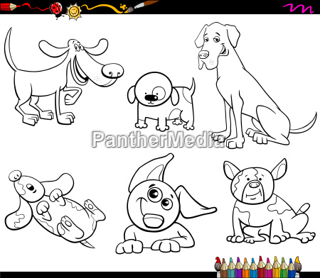 cartoon dogs characters coloring book