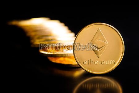 golden ethereum coins