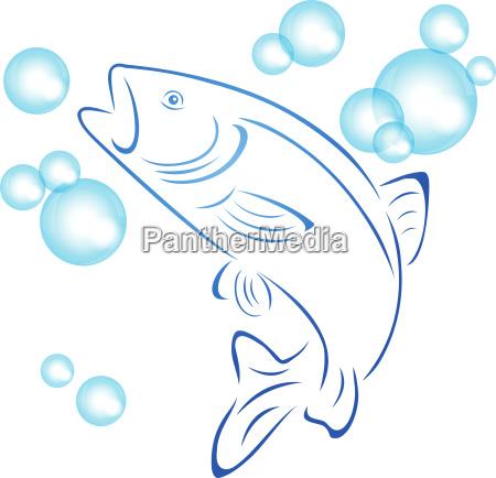 forelle fisch und wasserblasen logo angeln